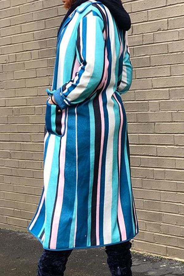 Lovely Trendy Striped Blue Trench Coat