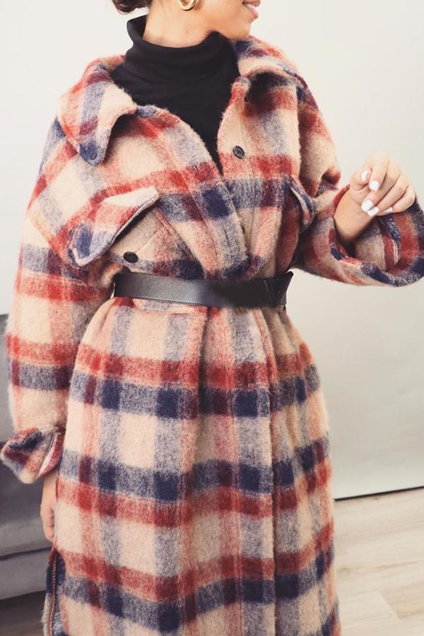 Lovely Stylish Plaid Loose Red Coat
