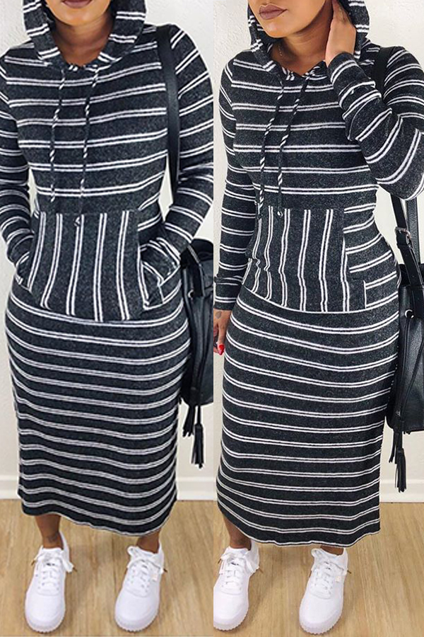 Купить со скидкой Lovely Casual Striped Black Ankle Length Dress