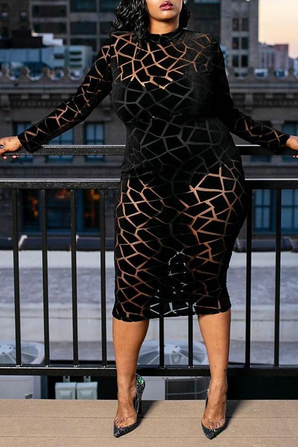 lovelywholesale / Cheap Dress Lovely Chic Turtleneck Black Mid Calf Dress