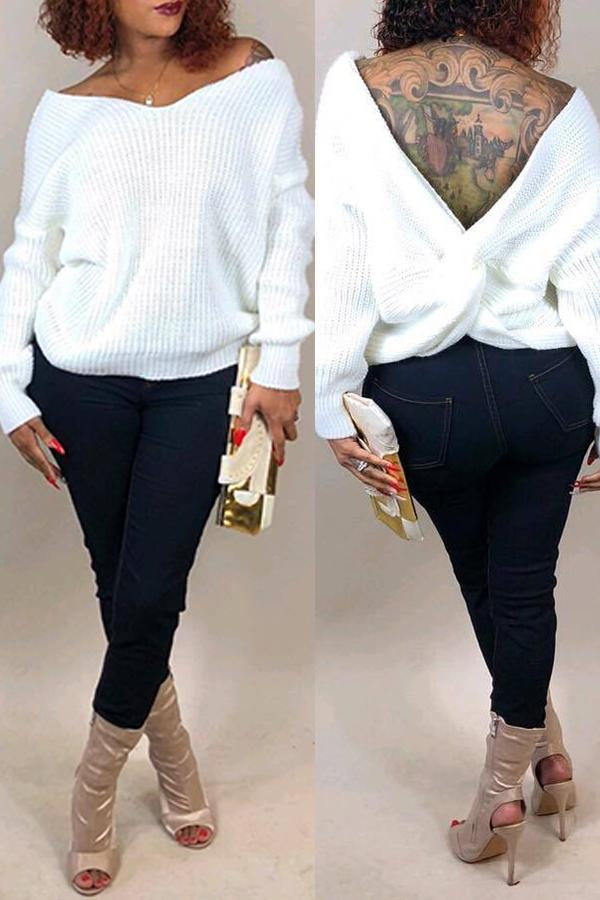 Lovely Casual V Neck Cross-over Design White Sweater
