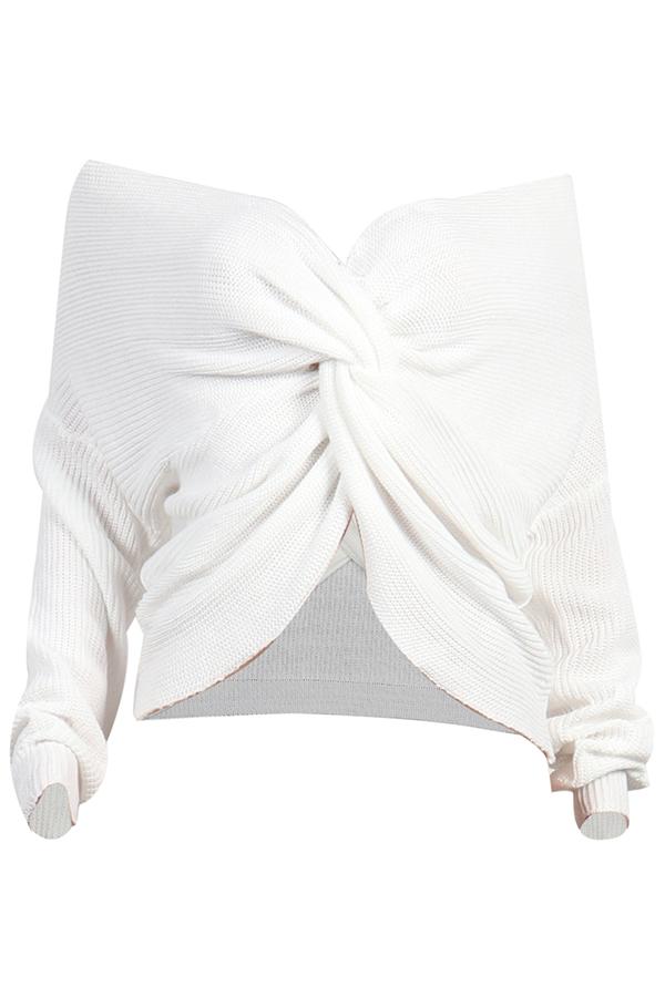 Lovely Casual V Neck Cross-over Design White Sweat