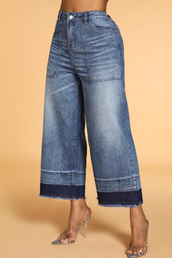 Lovely Casual Loose Patchwork Blue Jeans