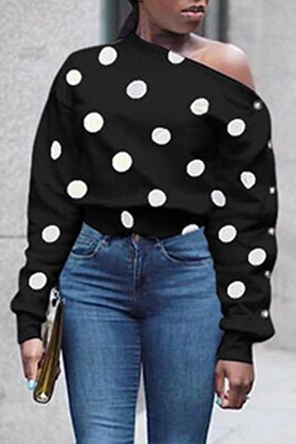 Lovely Chic Dot Printed Black Hoodie