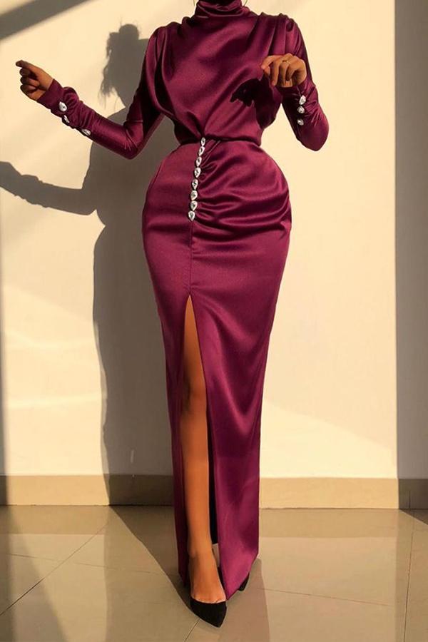 Lovely Party Turtleneck Slit Wine Red Prom Dress