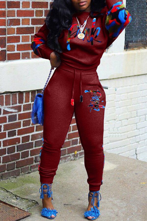 Lovely Casual Lip Print Purplish Red Two-piece Pants Set