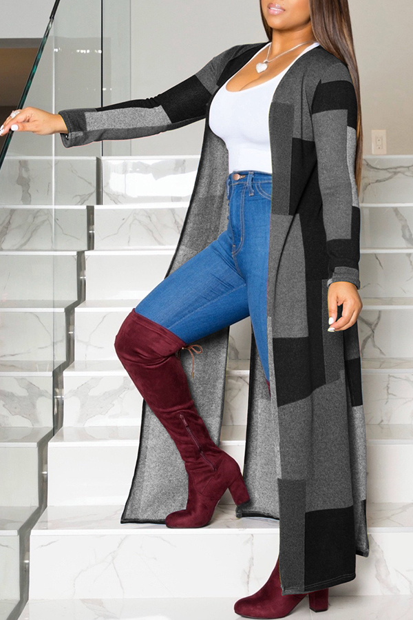 Lovely Casual Color-lump Patchwork Black Coat