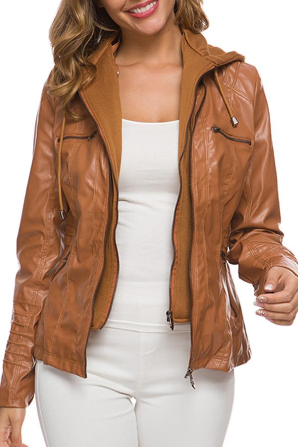 Lovely Casual Zipper Design Brown Coat