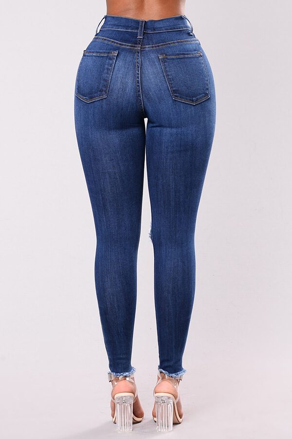 Lovely Chic Broken Holes Deep Blue Jeans