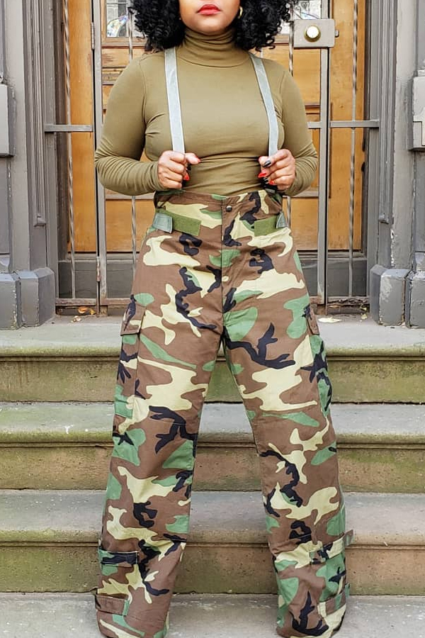Lovely Casual Print Camo Army Green One-piece Jumpsuit