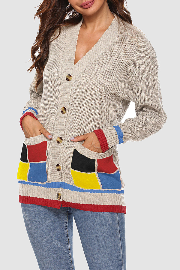 Lovely Chic Patchwork Apricot Cardigan