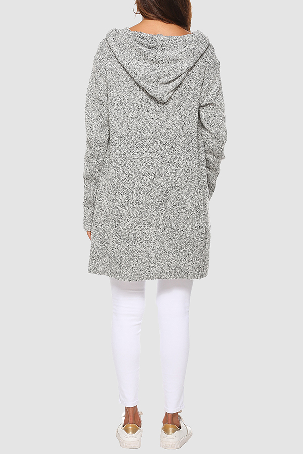 Lovely Casual Hooded Collar Buttons Light Grey Cardigan