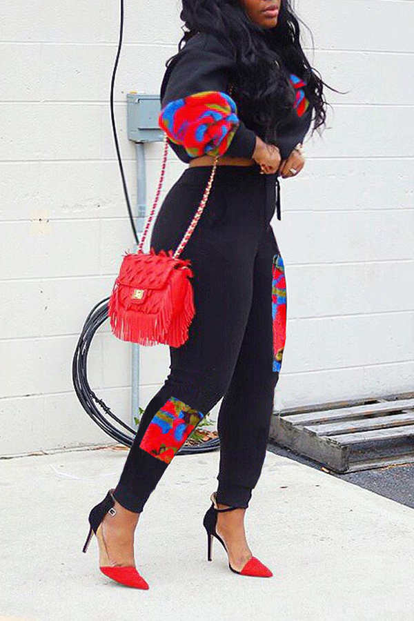 Lovely Casual Patchwork Print Black Two-piece Pants Set