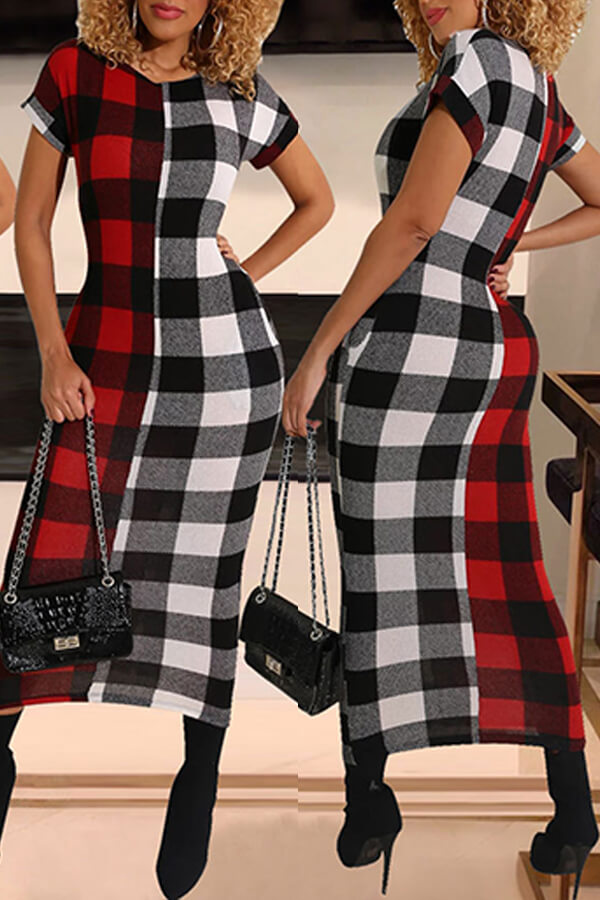 Lovely Chic O Neck Plaid Print Red Mid Calf Dress