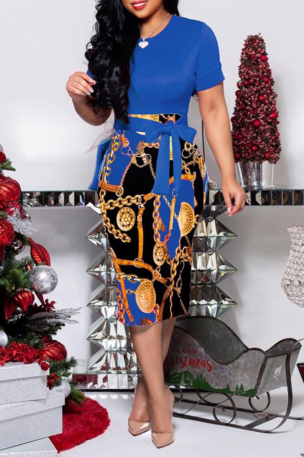 Lovely Trendy O Neck Blue Print Knee Length Dress