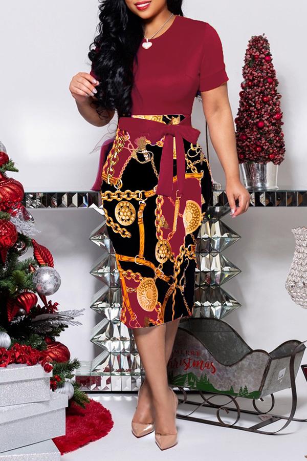 lovelywholesale / Cheap Daily Dress Lovely Trendy O Neck Print Wine Red Knee Length Dress
