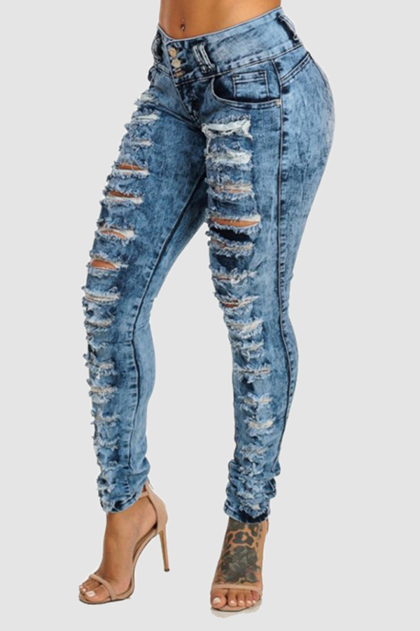 Lovely Casual Hollow-out Royal Blue Jeans