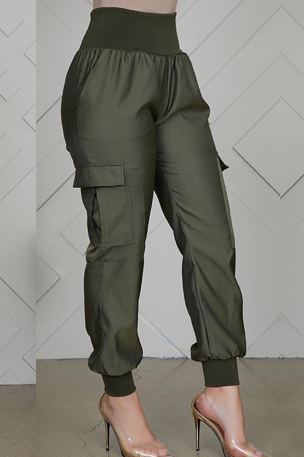 Lovely Casual Patchwork Army Green Pants
