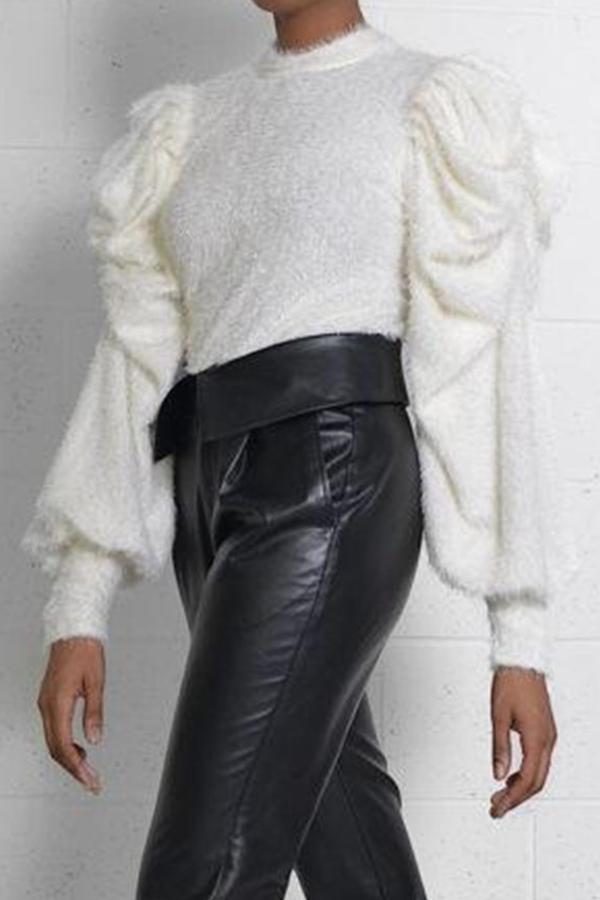 Lovely Casual Mandarin Collar Ruffle Design White Sweater