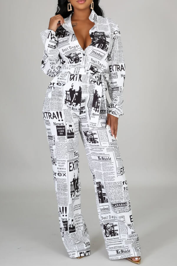 Lovely Stylish Letter Print White One-piece Jumpsuit