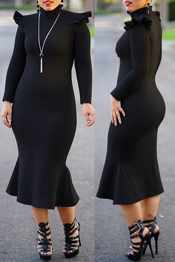 Lovely Sweet Turtleneck Flounce Design Black Mid Calf Dress