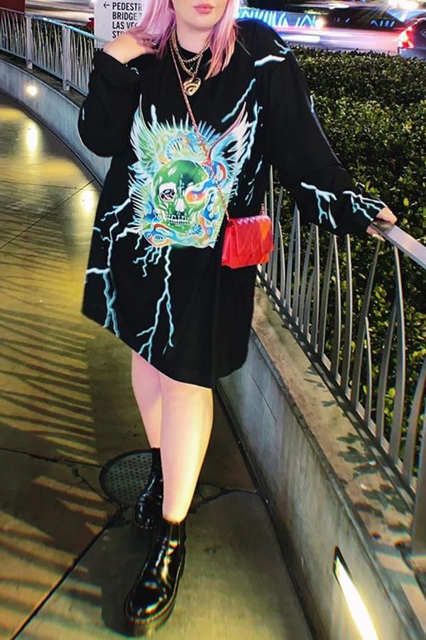 Lovely Casual Print Black Knee Length Straight Plus Size Dress