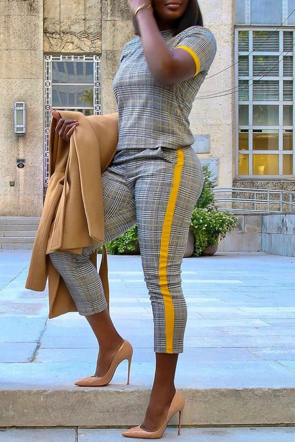 Lovely Casual Plaid Grey Two-piece Pants Set