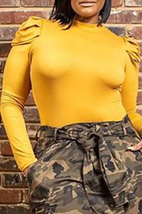 Lovely Casual Ruffle Design Yellow Plus Size Blous