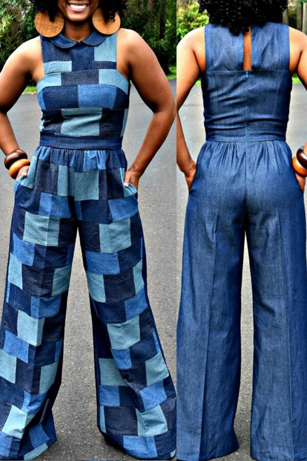 Lovely Casual Color-lump Patchwork Blue One-piece Jumpsuit