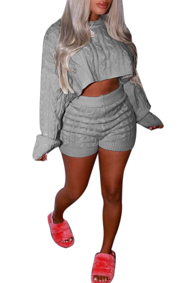 Lovely Casual Crop Top Grey Two-piece Shorts Set