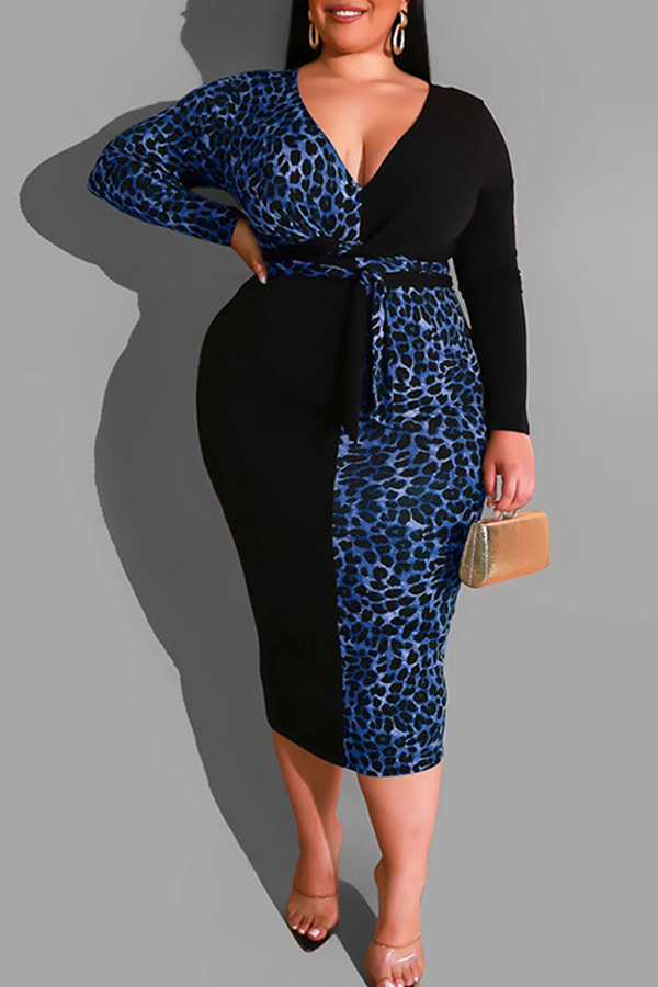 Lovely Casual V Neck Patchwork Blue Mid Calf Plus Size Dress