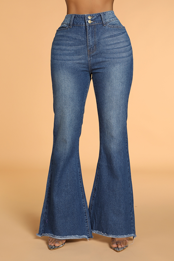 Lovely Chic Flared Blue Jeans