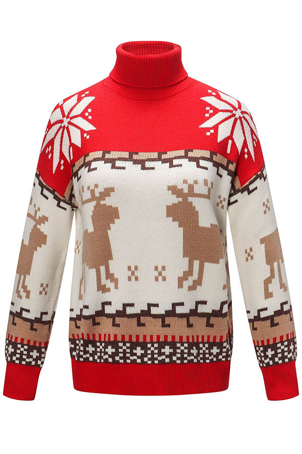 Lovely Christmas Day Patchwork Red Sweater