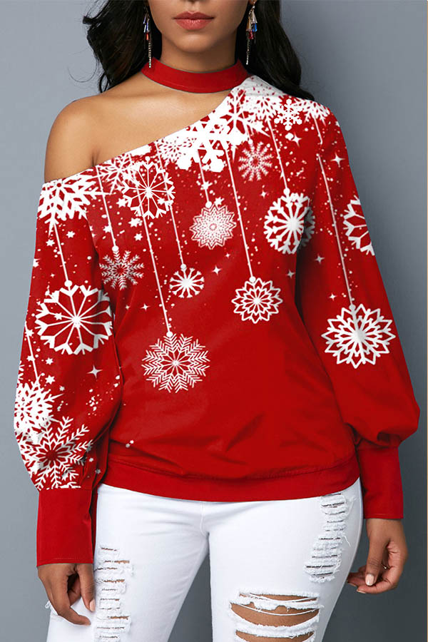 Lovely Christmas Day Dew Shoulder Red Blouse