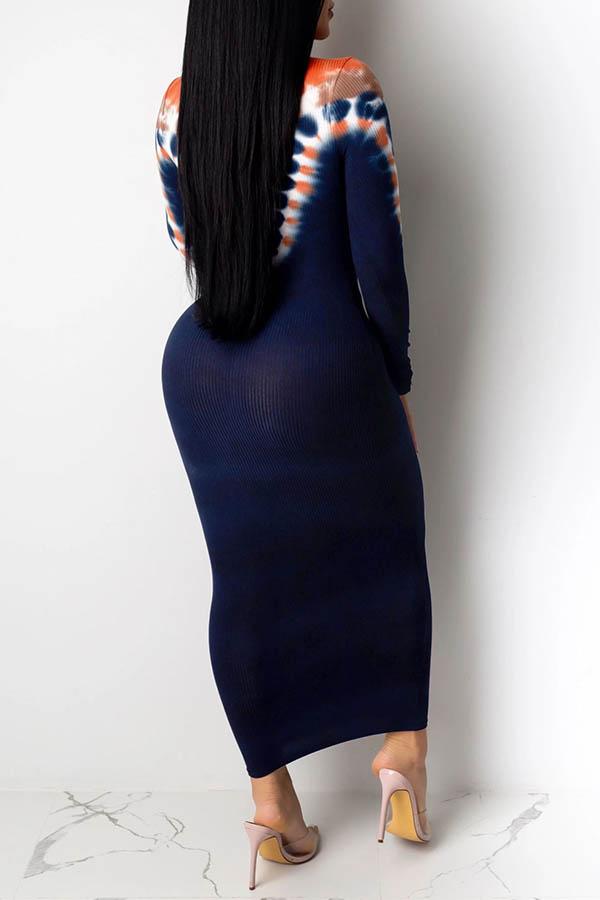 Lovely Chic Tie-dye Blue Ankle Length Dress