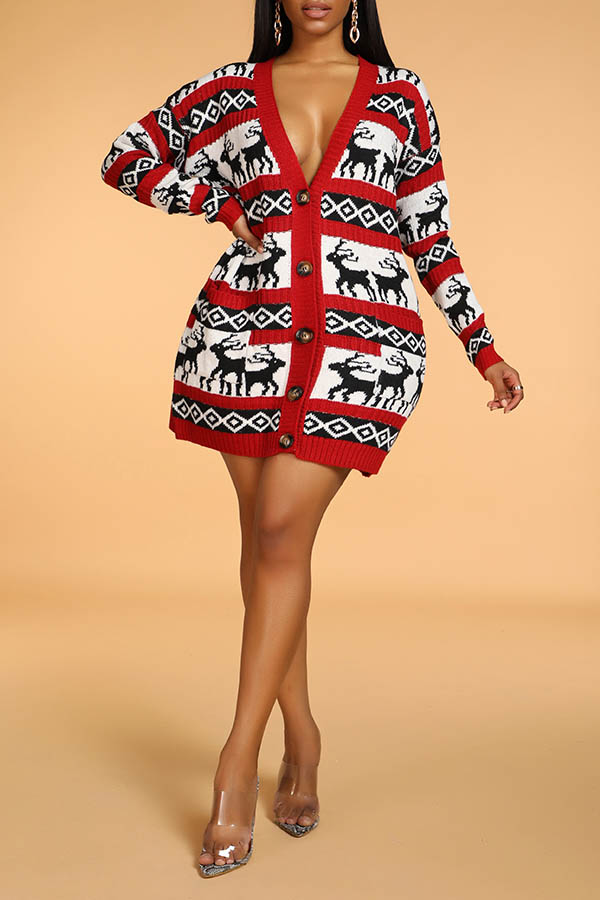 Lovely Christmas Day Deer Wine Red Cardigan