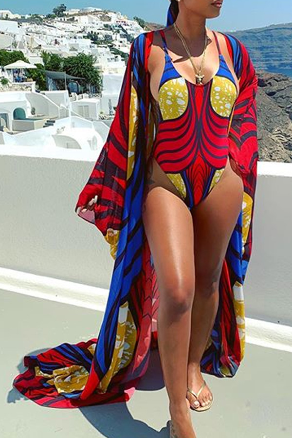 Lovely Print Multicolor One-piece Swimsuit