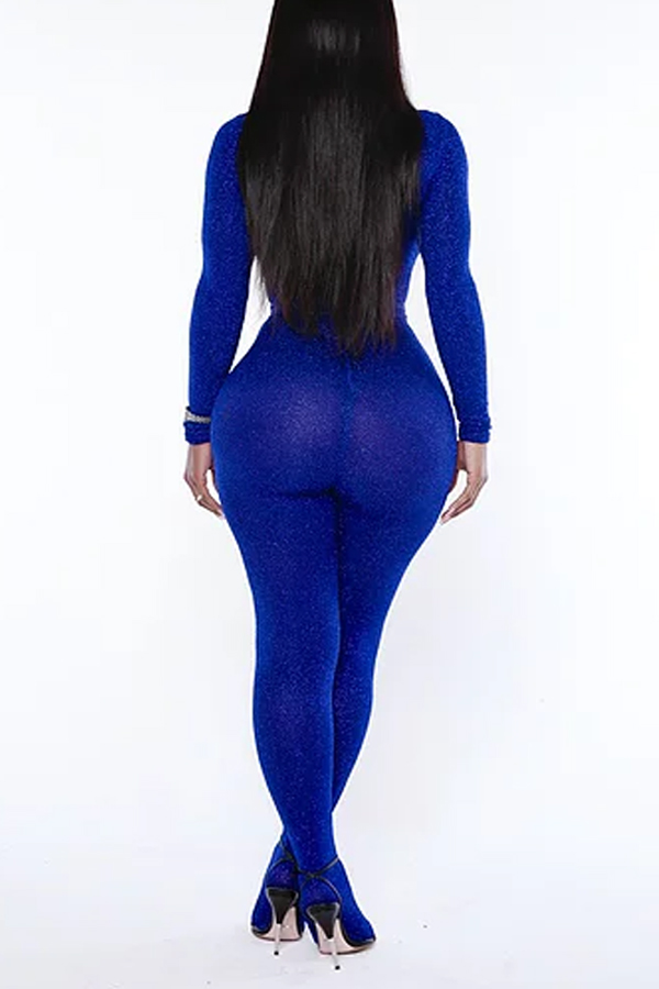 Lovely Leisure See-through Blue One-piece Jumpsuit