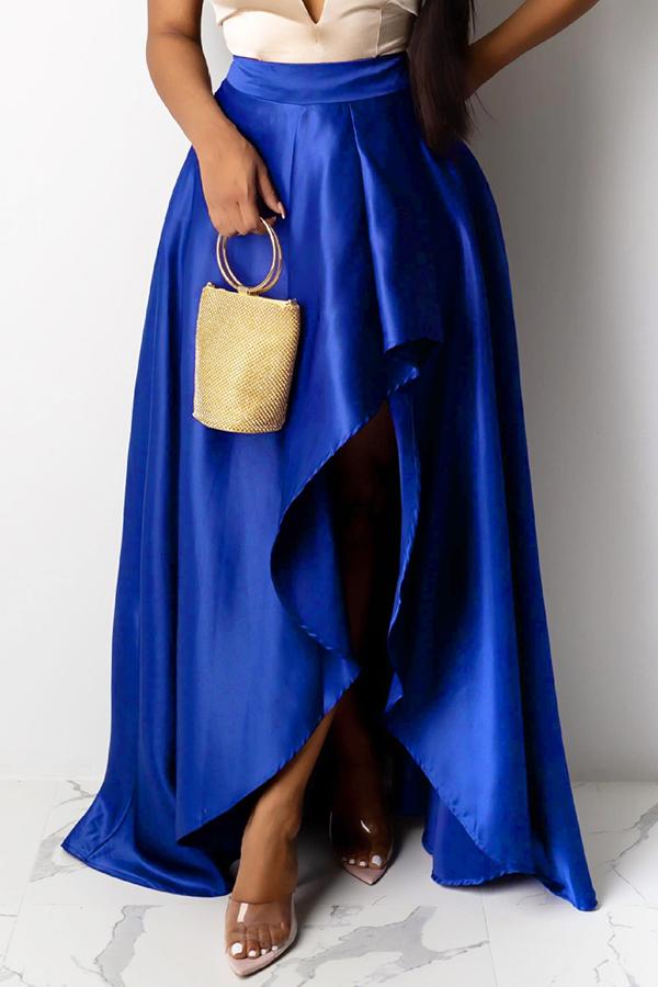 Lovely Work Asymmetrical Royal Blue Skirt