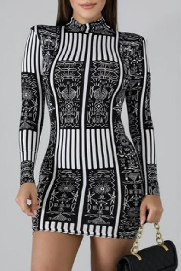 Lovely Trendy Print Black And White Mini Dress