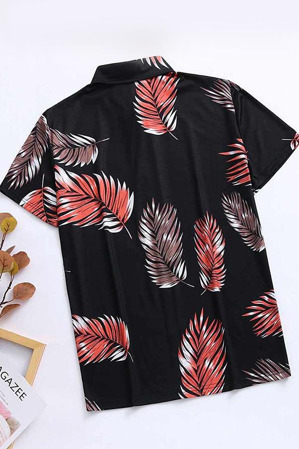 Lovely Casual Print Basic Black Shirt