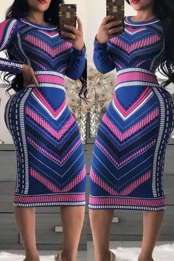 lovelywholesale / Cheap Dress Lovely Chic Print Multicolor Mid Calf Dress