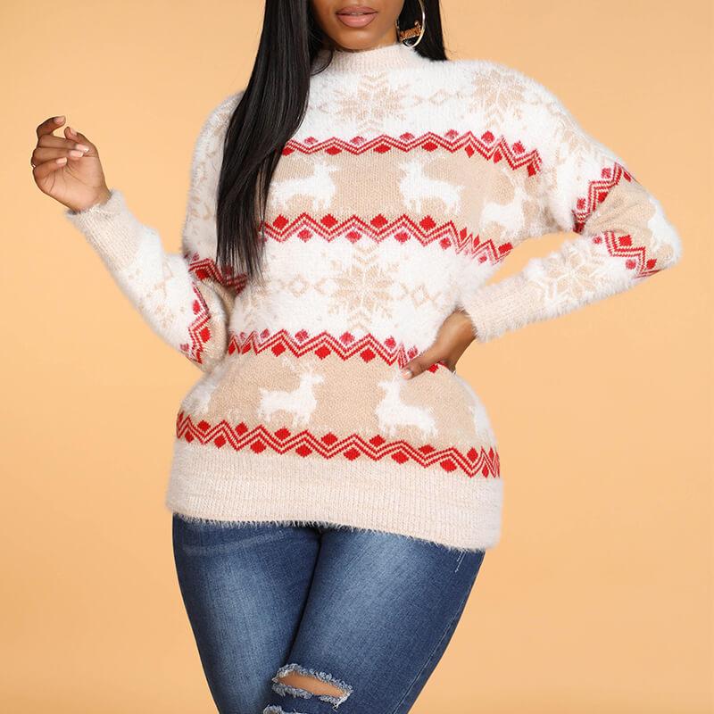 Lovely Christmas Day Striped Khaki Sweater