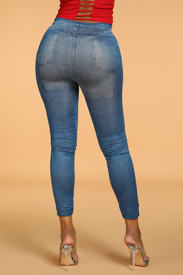 Lovely Casual Patchwork Skinny Blue Leggings(With Elastic)