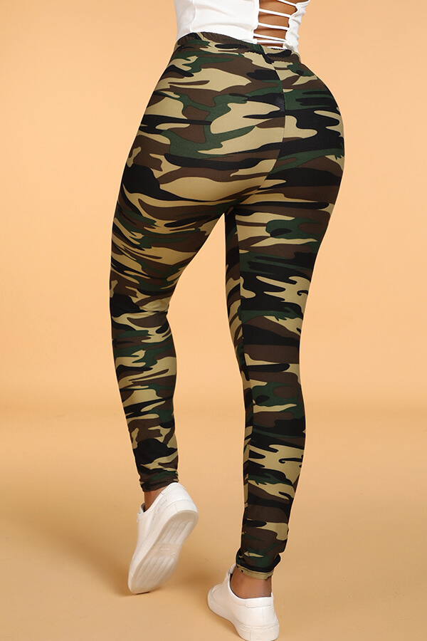 Lovely Casual Camo Print Skinny Army Green Leggings(With Elastic)