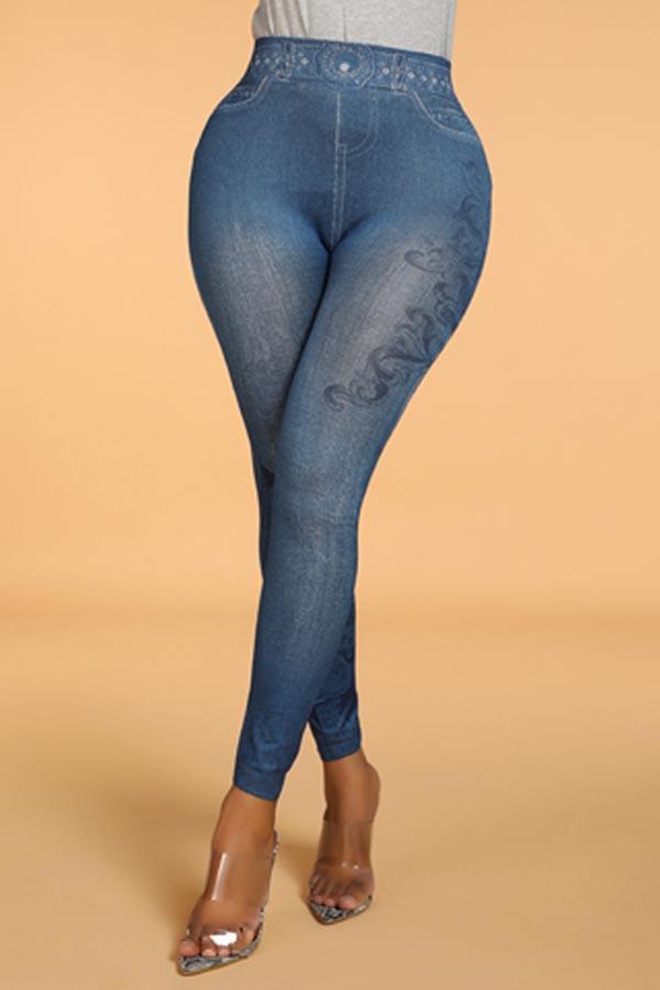 Lovely Casual Print Skinny Blue Leggings(With Elastic)