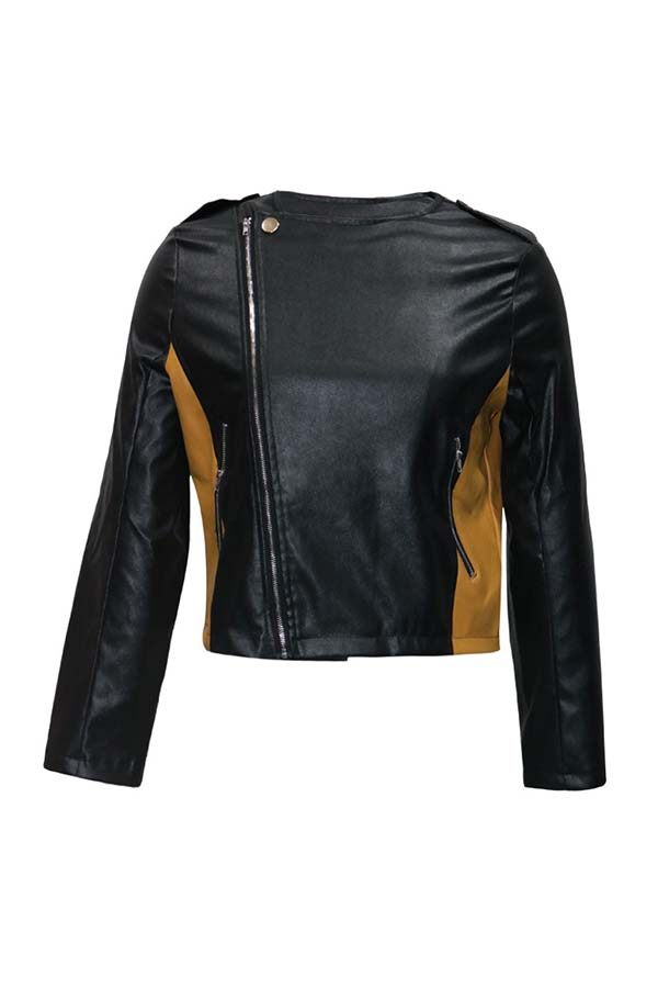 Lovely Casual Patchwork Black Jacket