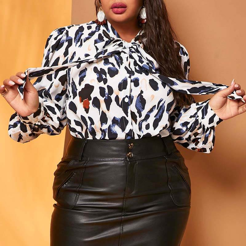 Lovely Trendy Leopard White Plus Size Blouse