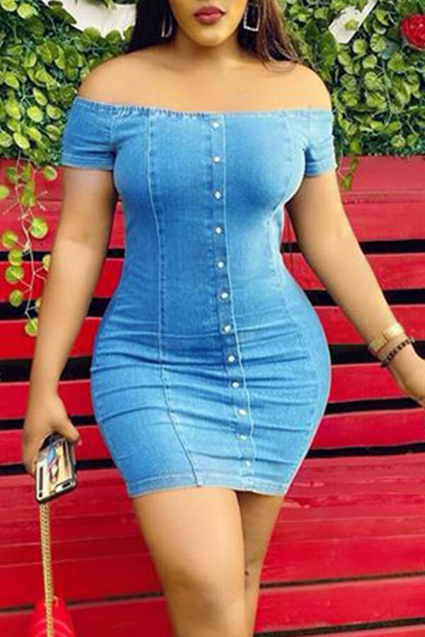 Lovely Chic Button Design Blue Mini Dress