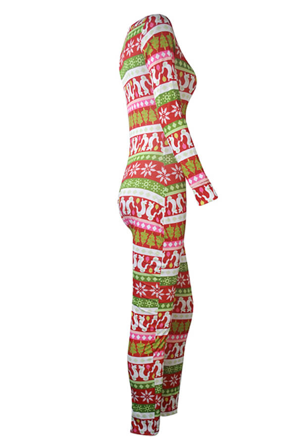 Lovely Christmas Day Print Red One-piece Jumpsuit